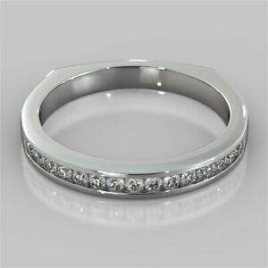 0.15 Ct Round Moissanite Engagement Eternity Band Solid 18K White Gold Ring 4 5