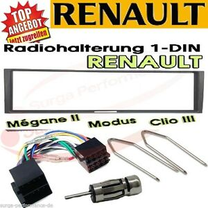 Renault-Megane-2-Scenic-Modus-Clio-Radio-Blende-Adapter-Kabel-SET