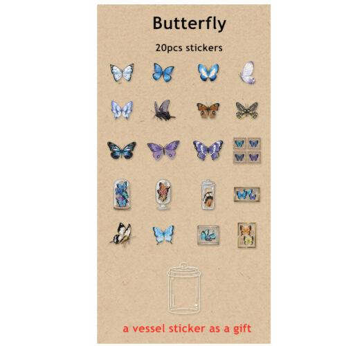 1 Pack Retro Butterfly Botanical PET Stickers Diy Scrapbook Journal Deco Sticker