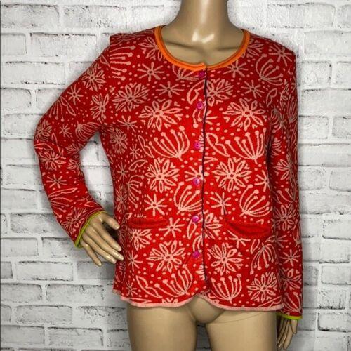 Gudrun Sjoden floral cardigan sweater M medium