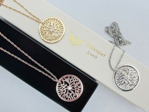 GENUINE ARABESQUE JEWELS DISC NECKLACE//PENDANT//CHAIN TREE OF LIFE ROOT COIN AJMM