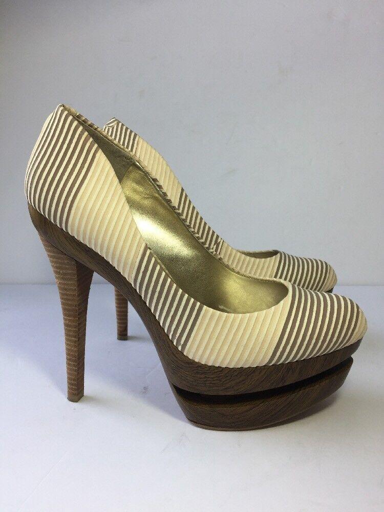 Jessica Simpson Colie Heels 8.5 Wood Platform Seaside Stripe Sand Leather