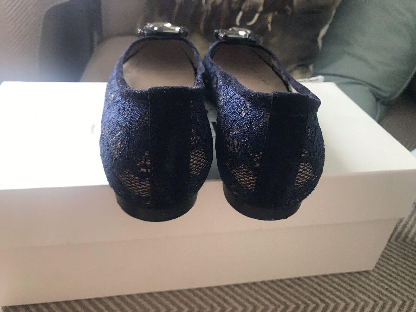 58ef7f843b59f L.K. Bennett Jessica Jewelled Lace Pumps Ballerina Flat Shoes in Navy size  37 (4 | eBay