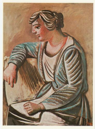 Frau im grünen Morgenrock Kunstkarte Postcard Art Pablo Picasso