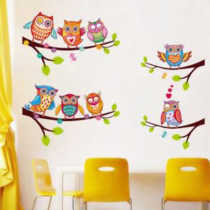 Details zu Wandtattoo Eulen Tiere Kinderzimmer Spielzimmer Geschenk  Aufkleber bunt neu Baby