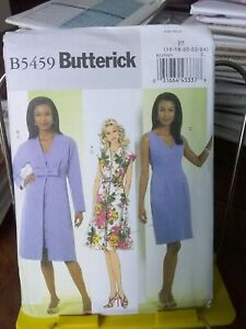 Oop-Butterick-easy-5459-misses-fitted-dress-lined-coat-sz-16-24-NEW