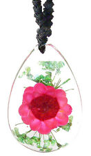 Real Pink Flower Clear Pendant