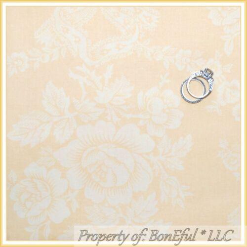 BonEful Fabric FQ Cotton Yellow Peach N Cream Off White Shabby Chic Rose Flower