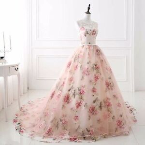 New Elegant Floral Wedding Dresses Champagne Pink Scoop Neck Bridal ...