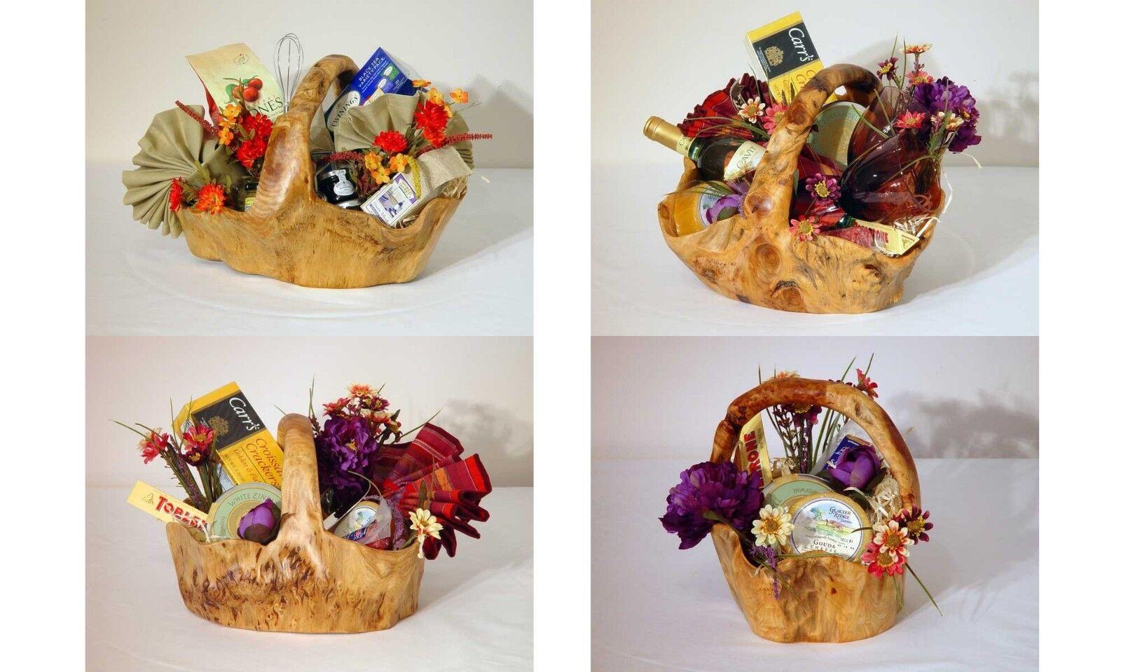 Handmade natural wood root Carved artistic valentine gift, Large fruit basket..