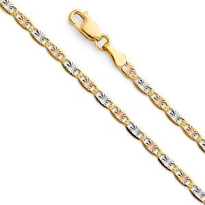 14k-Solid-Tri-Colored-Gold-2-1mm-Valentino-Chain-Necklace-Cadena-Tres-Oro-Solido