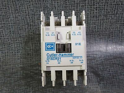 D15CR31 CUTLER HAMMER CONTACTOR RELAY 10 AMP 600V 3 PHASE 110-120V COIL MODEL