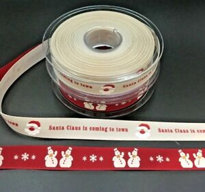 Christmas Ribbon Santa Clause is Coming to town//red ribbon with snowman 15mm