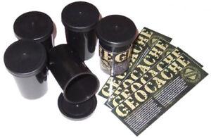 Set-Geocaching-5-Filmdosen-farbig-5-Aufkleber-5-Logbuecher-Cache-Micro-Versteck