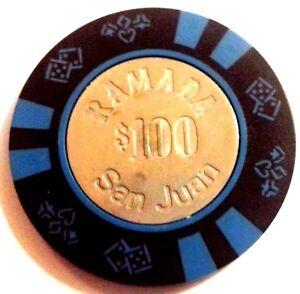 $100 RAMADA Black Blue COIN Casino Chip CONDADO SAN JUAN Puerto Rico Bud Jones