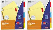 2 Pack Avery 11109 Insertable Big Tab Dividers 5 Tab Letter Size