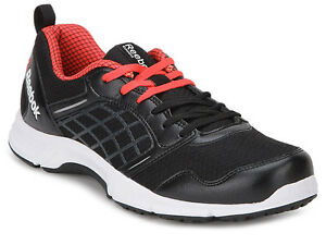 Reebok Mens Original Road Rush Black Red Casual Sports Shoes