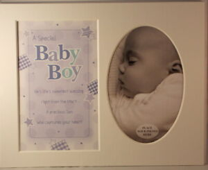 Baby-Boy-Keepsake-Photo-Frame-Mount-to-take-6-x-4-inch-photo-20-25cm