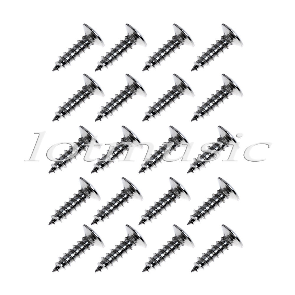 20 pcs guitar pickguard mounting screws chrome scratch