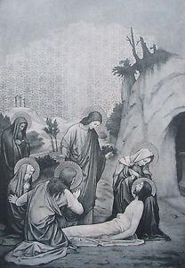 Sigmung-Rudl-GRABLEGUNG-Altargemaelde-Originaldruck-aus-1899-Religion-old-print
