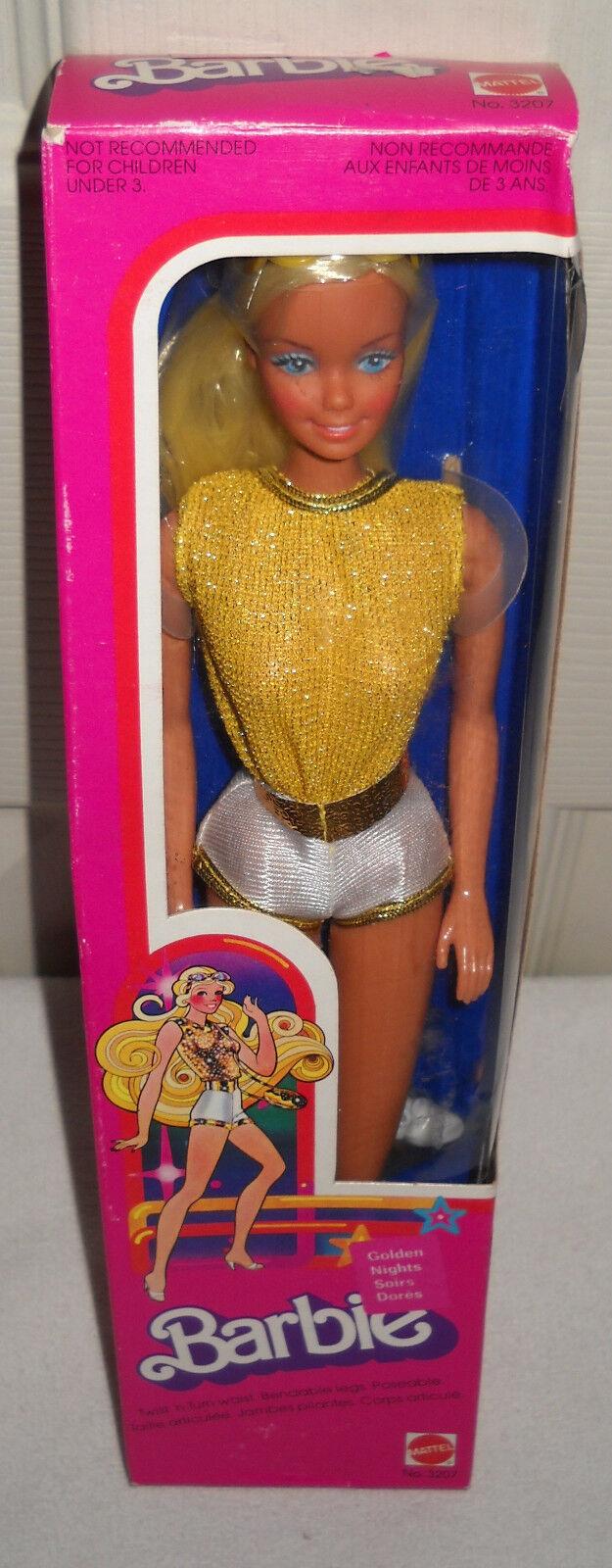 Nunca quitado de la Caja Mattel Vintage oro Noches soirs Dores Barbie tema extranjeros