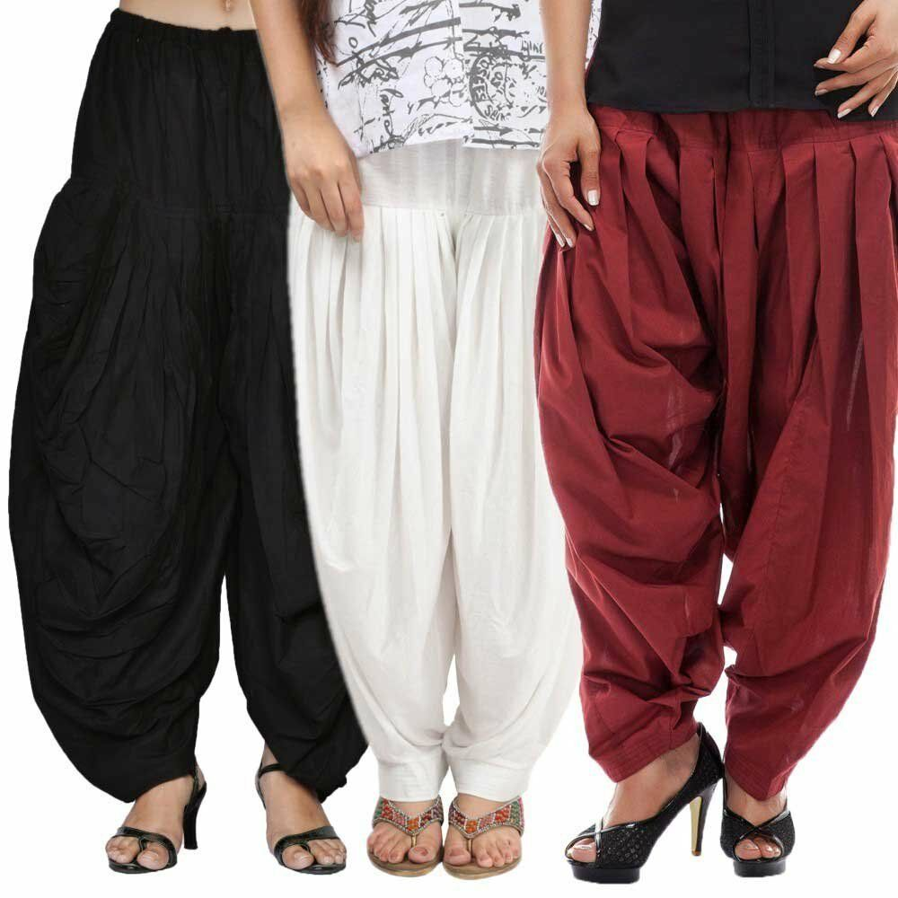 Adroit Combo Pack De 3 Femmes Confortable Punjabi Salwar Ethnique Patiala Salwar Libre Taille Prix Fou