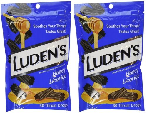 2 Bags Of Luden's Honey Licorice Throat Drops 30 Count Each