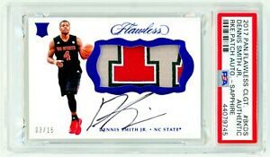 DENNIS-SMITH-JR-2017-Panini-Flawless-Collegiate-RPA-SAPPHIRE-15-PSA-ROOKIE-AUTO