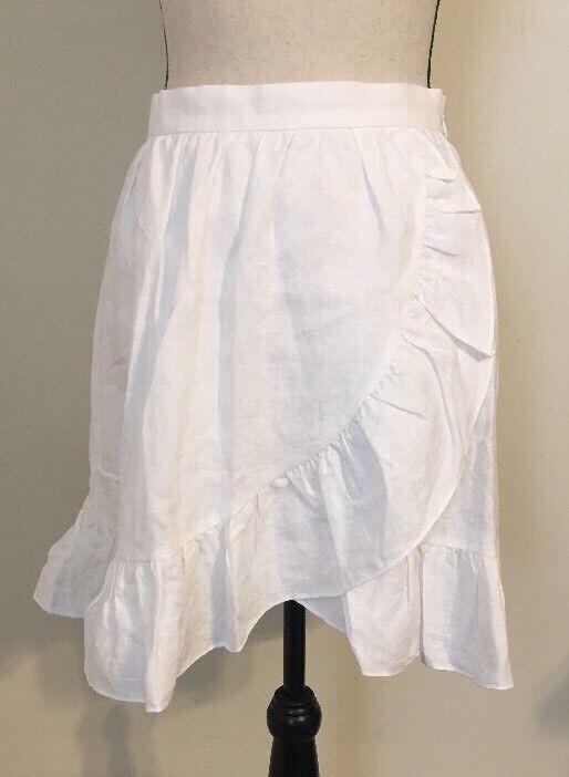 NEW JCREW Linen ruffle skirt Size2 In White G4590 SOLDOUT