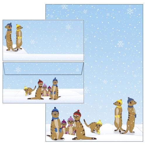 Erdmännchen Winter Set Motivpapier Briefpapier 20 Blatt A4 10 Kuverts Briefe