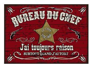 Plaque carton vintage Bureau du chef décoration rétro originale Neuf