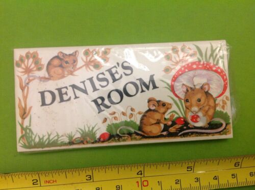 Old Retro 70s Vintage Name Door CERAMIC TILE PLAQUE Sign DENISE'S ROOM Bnip New