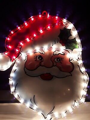 45cm Christmas Santa Face Rope Leds Warm White Lights Window Indoor Outdoor Ebay