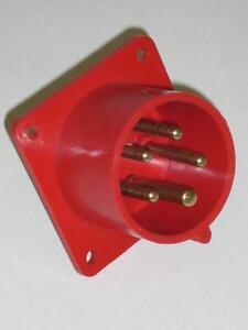 PCE 615-6 Anbaugerätestecker 16A 5polig 6h  Einbaustecker Flanschstecker