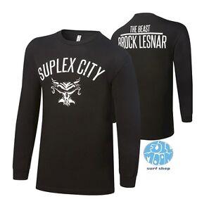 New-WWE-Brock-Lesnar-Suplex-City-Long-Sleeve-Mens-Black-T-Shirt