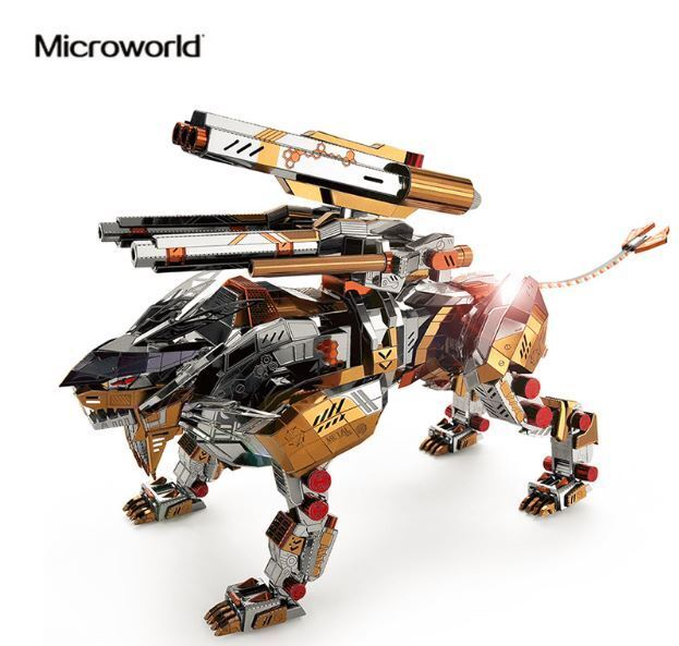 Nuevo MicroWorld 3D Metal Puzzle un león rugiente montar maquetas Jigsaw Toys