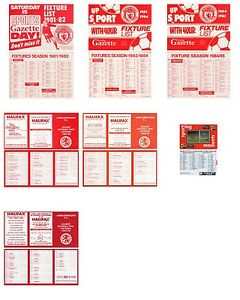 7 x MIDDLESBROUGH FC FIXTURE LISTS 198182 to 199192 - Thirsk, United Kingdom - 7 x MIDDLESBROUGH FC FIXTURE LISTS 198182 to 199192 - Thirsk, United Kingdom