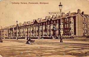 Blackpool-Inghilterra-Tyldesley-Terrace-Promenade-1910-Foto-Cartolina
