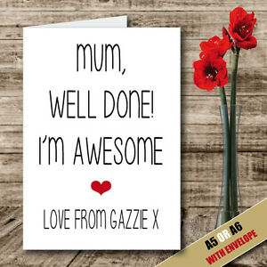 Image Is Loading Personalised MOTHERS DAY BIRTHDAY CARD Handmade Printed Funny