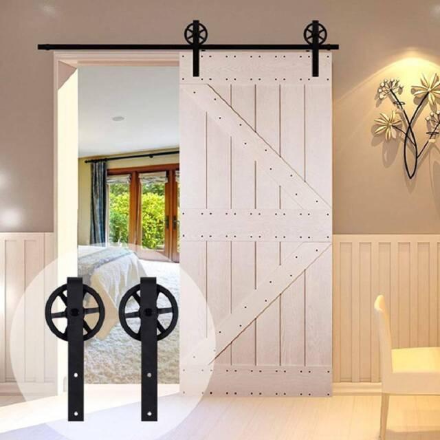 8ft Exterior Interior Sliding Barn Door Hardware Wood Closet Roller Track Set For Sale Online Ebay