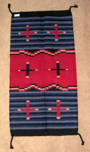 """Throw Rug Tapestry Southwest Western Hand Woven Wool 20x40/"""" Replica #367"""