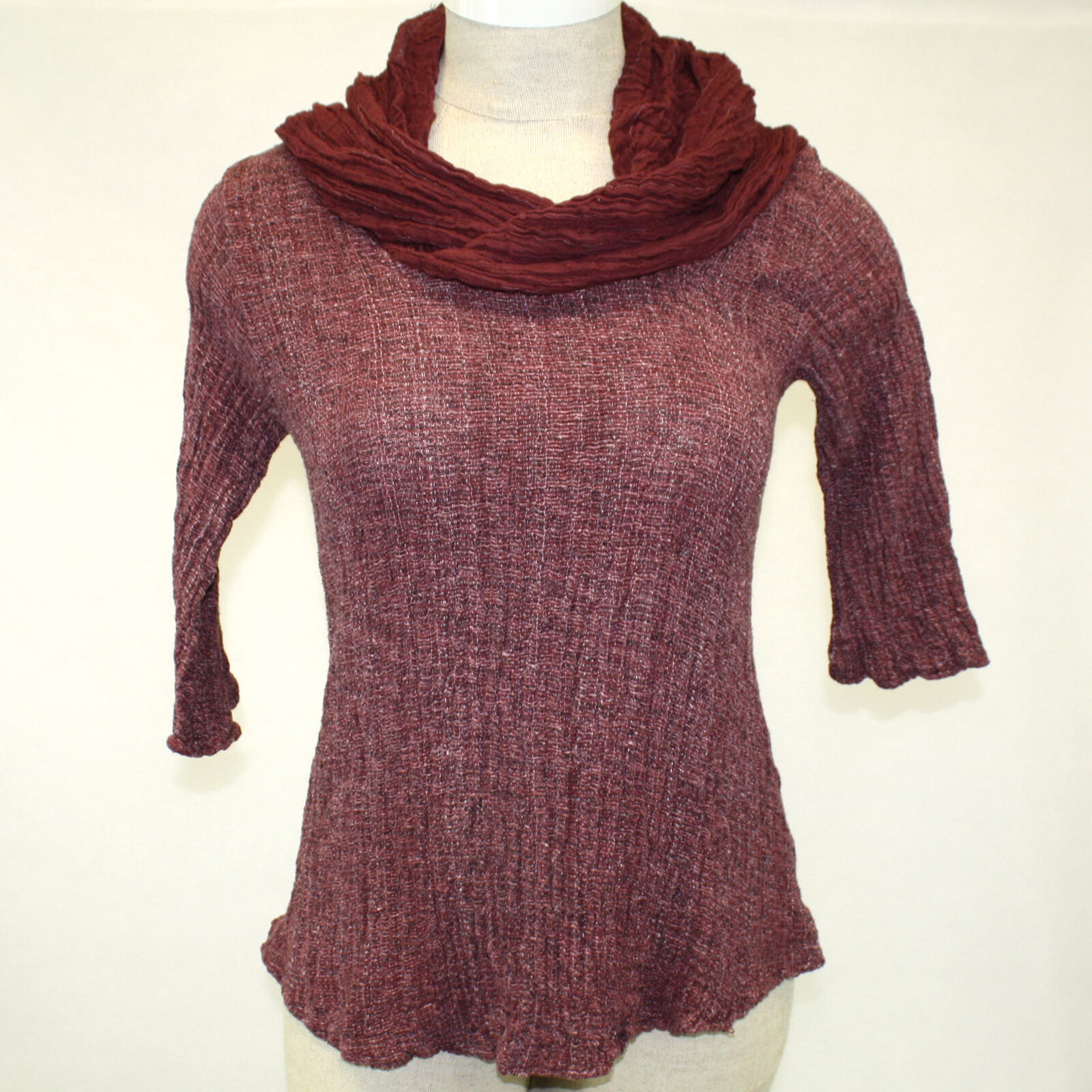 NWT Kai Moon Handmade Cowl Knit Top Maroon Cotton Bamboo Blouse 2X Made in USA
