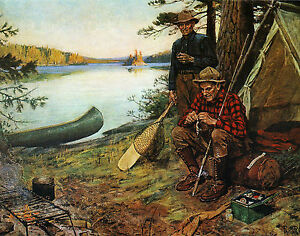 Philip R Goodwin Fishermen at Camp - Print Canvas Giclee Art Repro 11x14
