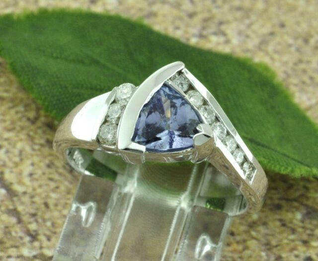 14k Solid White Gold Natural Diamond & AAA Trillion Cut Tanzanite Ring 1.21 ct