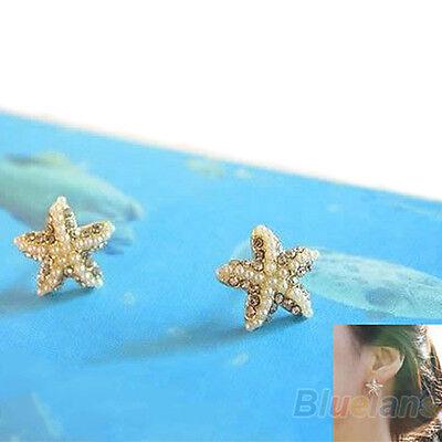Chic Women's Girls Rhinestone Pearl Starfish Star Earring Sea Ear Stud Xmas Gift