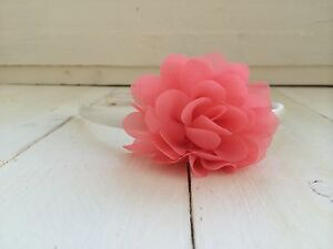 Ivory-Satin-Alice-Hairband-Headband-Coral-Pink-Flower-Bridesmaid-Flower-Girl