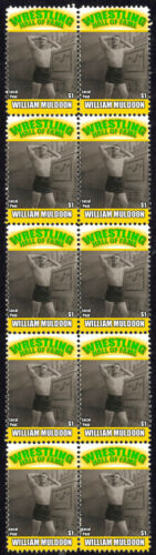 WILLIAM MULDOON WRESTLING HALL OF FAME INDUCTEE STRIP OF 10 MINT STAMPS