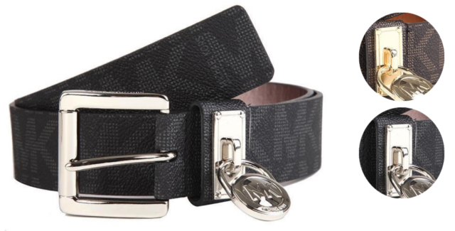 Michael Kors Women's MK Logo Premium Faux Leather Belt Hamilton Lock 553305