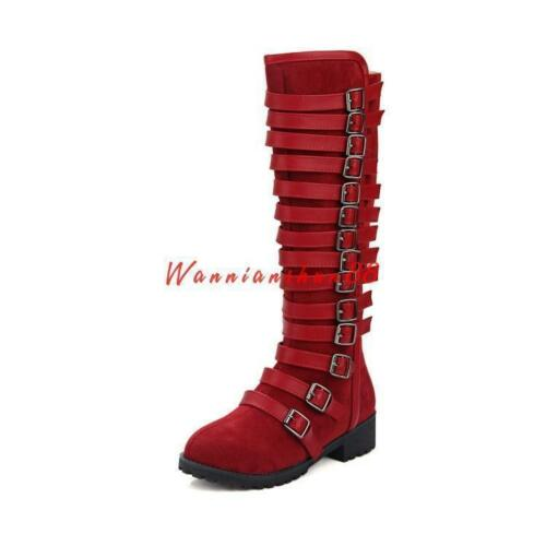 Womens Combat Multi-Buckle strap Knee High gothic Zip Snow Boots Shoes new