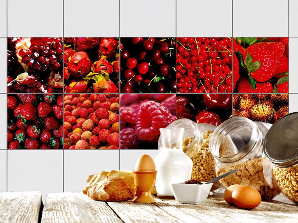 Fliesenbilder Klebefliesen Fliesen bekleben Küche rote Früchte Himbeeren Kirsche | Qualität
